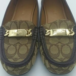 "Coach Women's size 8 Loafers ""Olive"" Khaki canvas"